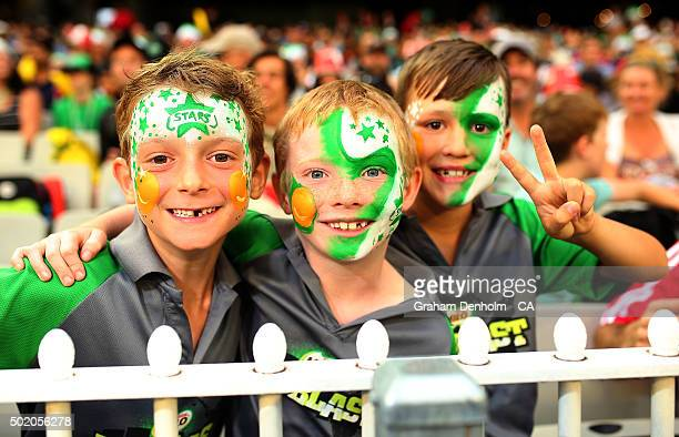Young Melbourne Stars fans show their support during the Big Bash League match between Melbourne Stars and Sydney Thunder at Melbourne Cricket Ground...