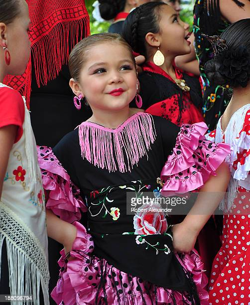 Young members of the Maria Benitez Institute for Spanish Arts Flamenco's Next Generation prepare to entertain with flamenco dancing in the historic...