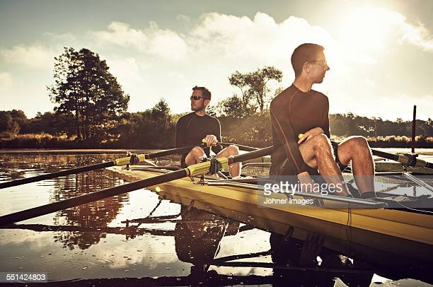 Young men canoeing