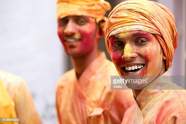 Young men celebration Holi