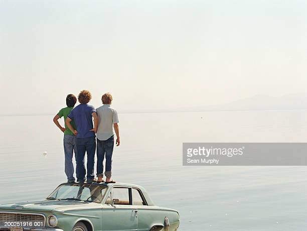 Young men standing on roof of car in water, rear view