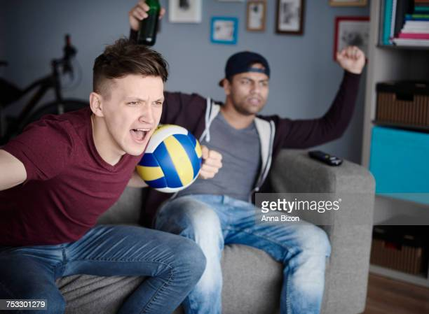 Young men stressing out during volleyball game. Debica, Poland