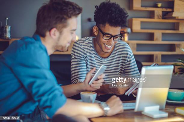 Young men working at home office