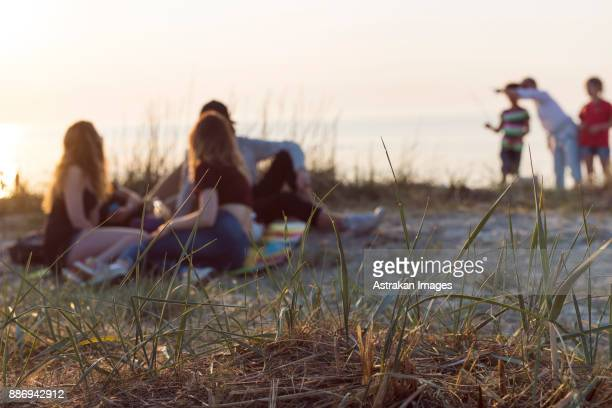 Young men, young woman and teenage girl (16-17) on beach