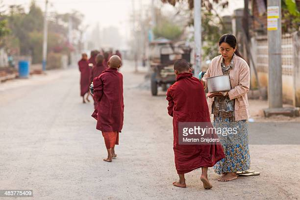 Young mendicant monks on street