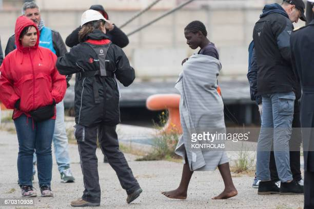 PORT CORIGLIANO CALABRIA ITALY A young migrant during the landing from the vessel Vos Hestia of Save The Children in the port of Corigliano Calabria...