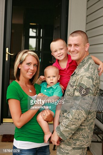 A young military family with two boys