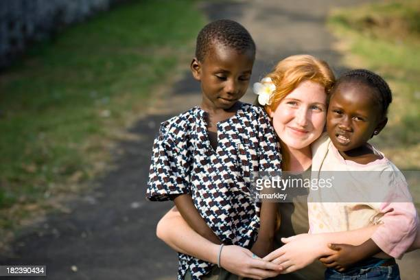 Young Missionary With African Children