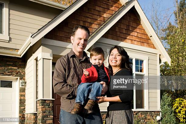 Young Mixed Race Family at Home