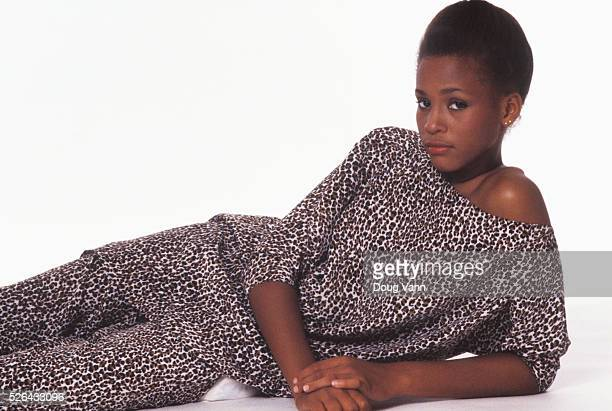 Young model Whitney Houston in a photography fashion session in New York City in September of 1980 Photo by Doug Vann Silk Cheetah print dress by...
