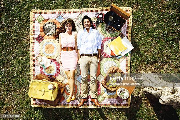 young modern vintage couple picnic happiness