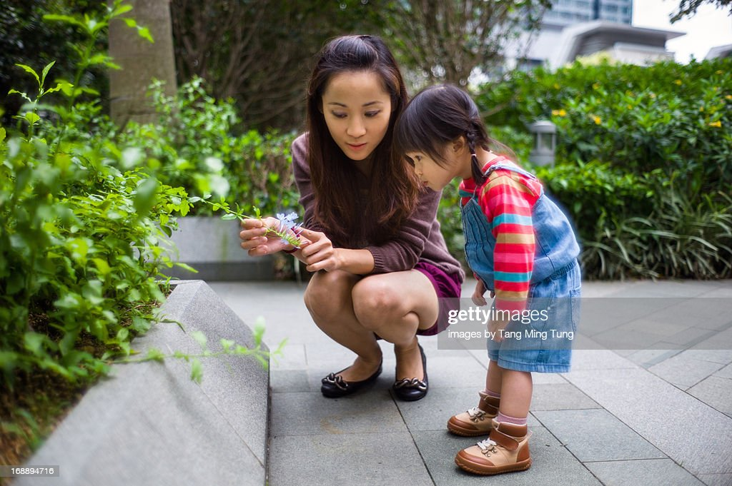 Young mom & curious toddler checking out flowers : Stock Photo