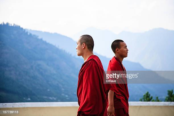 Young monks facing opposite directions