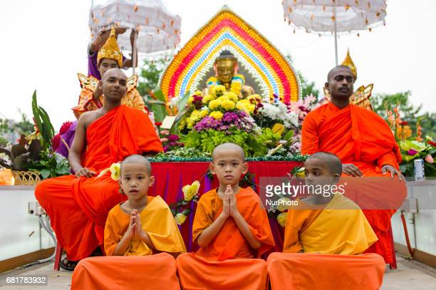 Young monks pictured during Vesak day celebration in Kuala Lumpur Malaysia on May 10 2017 Vesak day on the fullmoon day of the sixth lunar month an...