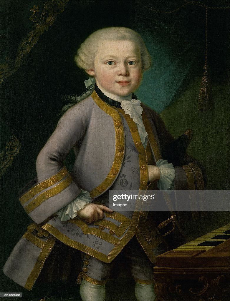 Young Mozart in court-dress. Oil on canvas (early 1763) . Probably by Pietro Antonio Lorenzoni. (Photo by Imagno/Getty Images) [Der junge <a gi-track='captionPersonalityLinkClicked' href=/galleries/search?phrase=Wolfgang+Amadeus+Mozart&family=editorial&specificpeople=79910 ng-click='$event.stopPropagation()'>Wolfgang Amadeus Mozart</a> in Hofkleidung.oel/Lw. 1763 . Gemaelde vermutlich von Pietro Antonio Lorenzoni.]