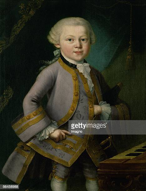 Young Mozart in courtdress Oil on canvas Probably by Pietro Antonio Lorenzoni [Der junge Wolfgang Amadeus Mozart in Hofkleidungoel/Lw 1763 Gemaelde...