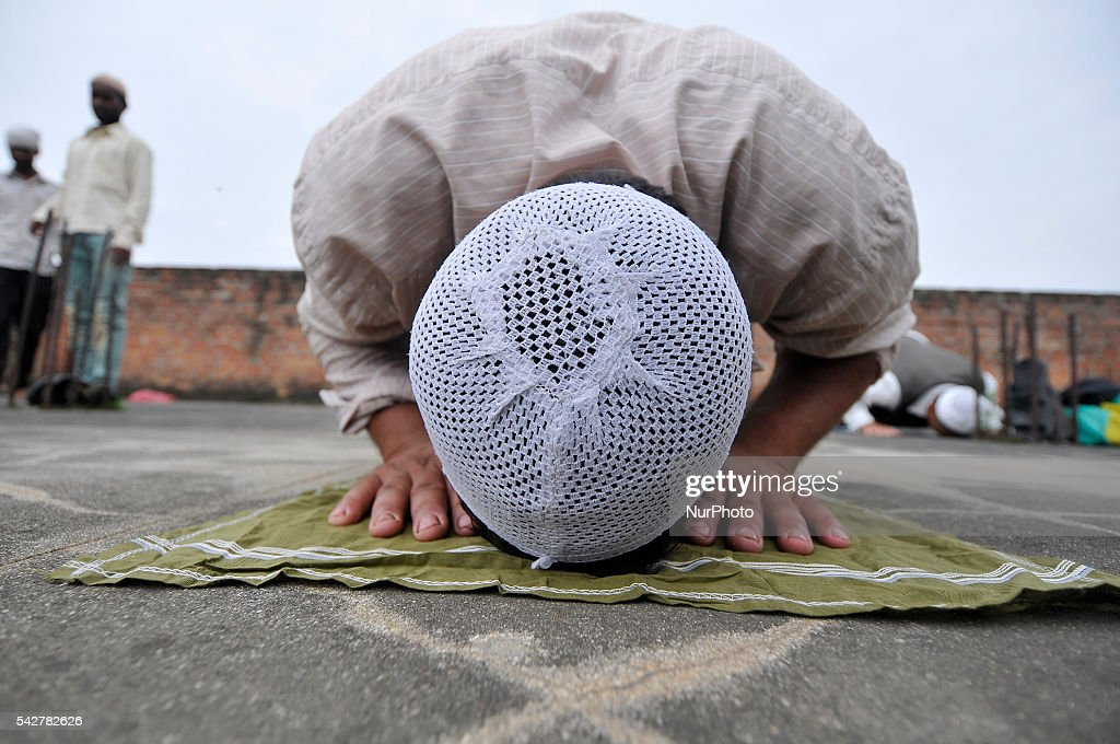 A young Nepalese Muslim offering ritual prayer at Kashmari Jame mosque on the third Friday of Ramadan (also known as Ramadhan or Ramzan) on June 24, 2016 at Kathmandu, Nepal. Ramadan (also known as Ramadhan or Ramzan) is the ninth month in the Islamic calendar. During the month of Ramadan; Muslims fast from dawn to dusk all over the world. While fasting from dawn until sunset; Muslims avoid from consuming food; drinking liquids; smoking; and engaging in sexual relations.