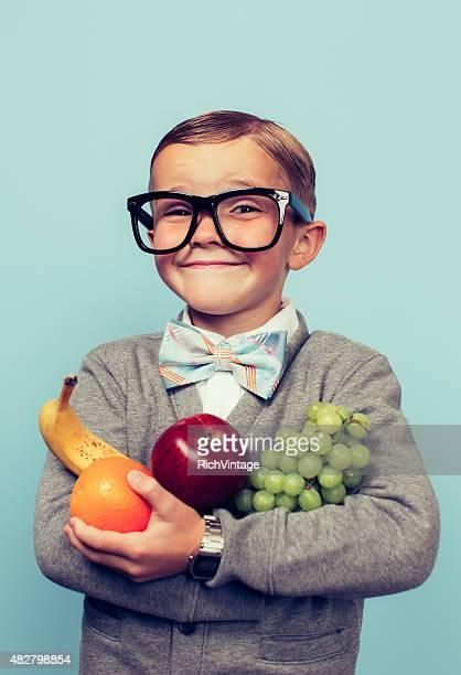 Young Nerd Boy Loves Eating Fruit
