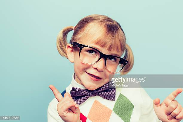 Young Nerd Girl with Silly Expression