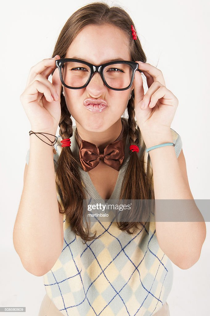 Young nerdy cute girl. : Stock Photo