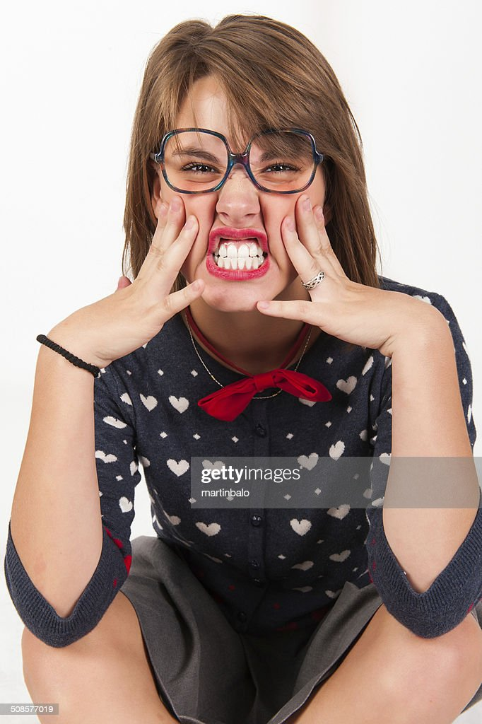 Young nerdy girl. : Stock Photo