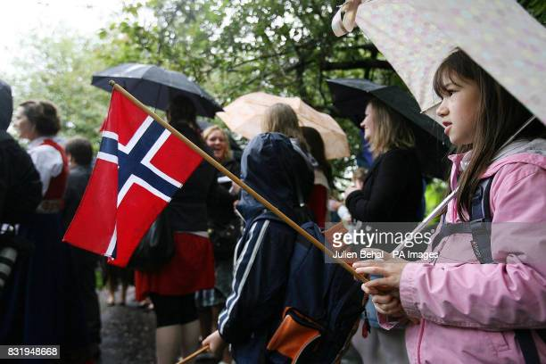 A young Norwegian girl waves the national flag during the national anthem for Norway n St Stephen's Green Dublin as activists opposed to the Corrib...