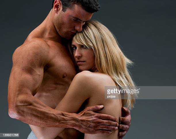 young nude couple embracing XXL