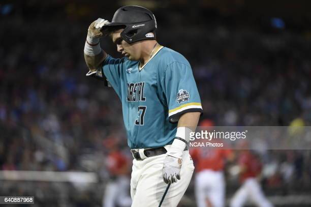 K Young of Coastal Carolina University shows his frustration after making an out against the University of Arizona during the Division I Men's...