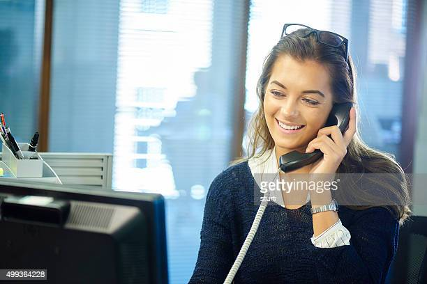 young office worker on the phone.
