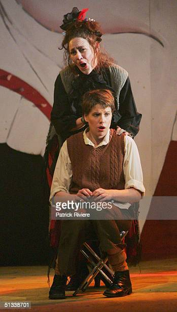 Young opera singer Leah Thomas and Sian Pendry perform during a dress rehearsal of Engelbert Humperdinck's Hansel and Gretel at the Independent...