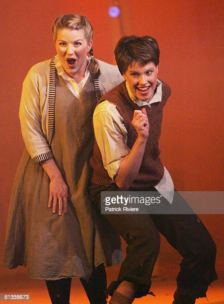 Young opera singers Penelope Mills and Sian Pendry perform during a dress rehearsal of Engelbert Humperdinck's Hansel and Gretel at the Independent...