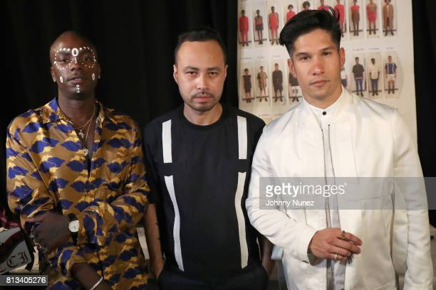 Young Paris Carlos Campos and Chino Miranda attend the Carlos Campos NYFW Men's July 2017 at Skylight Clarkson Sq on July 11 2017 in New York City