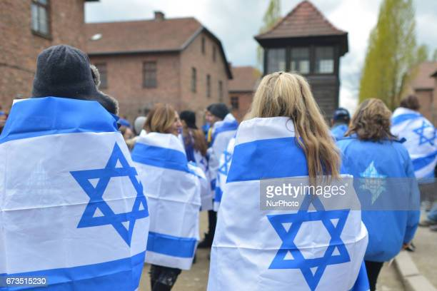 Young participants inside the former German Nazi Death Camp AuschwitzBirkenau during the annual March of the Living Jewish people from Israel and...