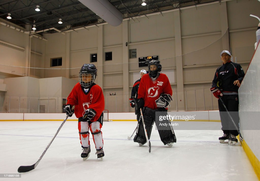 Young participants skate during the 2013 NHL Draft - Top Prospects Clinic at Prudential Center on June 29, 2013 in Newark, New Jersey.
