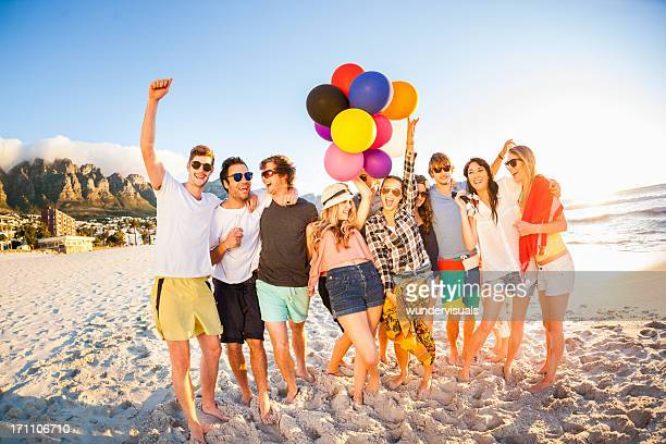 Young Party People having fun at the beach