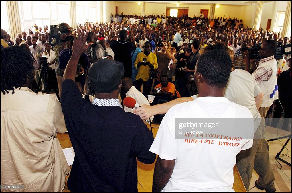 Young patriots meeting in the town hall of Cocody district in Abidjan, Cote D'Ivoire on November 16, 2004 - General Charles Ble Goude.