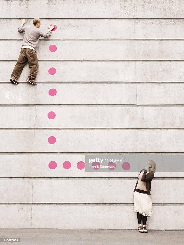 Young people connected with dots. : Stock Photo