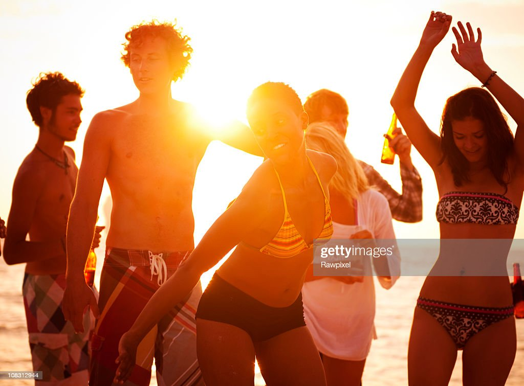 Young People Enjoying a Summer Beach Party. : Stock Photo