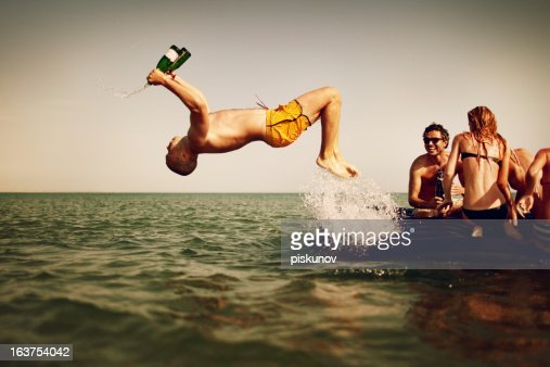 Young People Enjoying Beach Party : Stock Photo