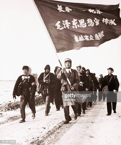 Young people from Changchun in northeast China carry a banner as they walk into Beijing during the Cultural Revolution It reads 'ChangchunPeking Mao...