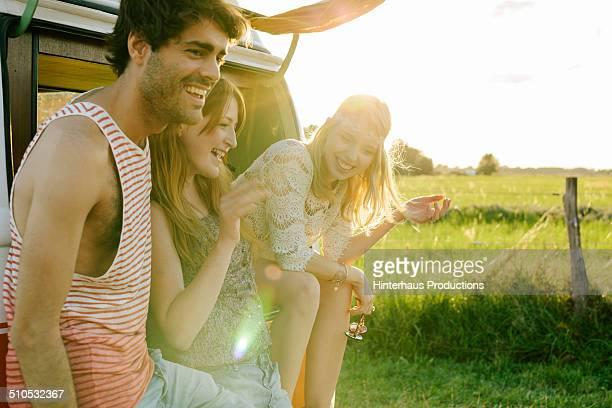 Young People Having Fun On Road Trip