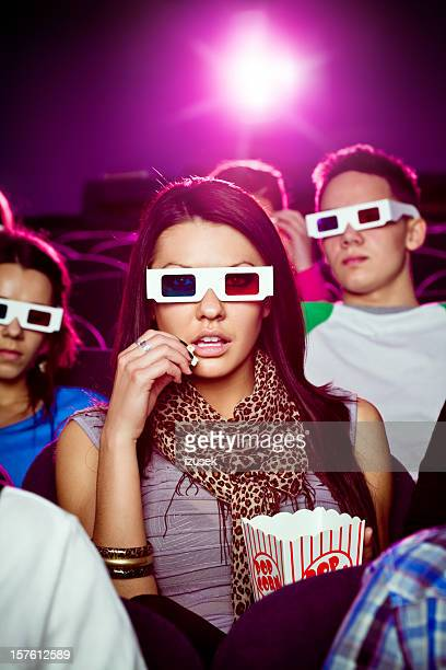 Young people in 3D move theater