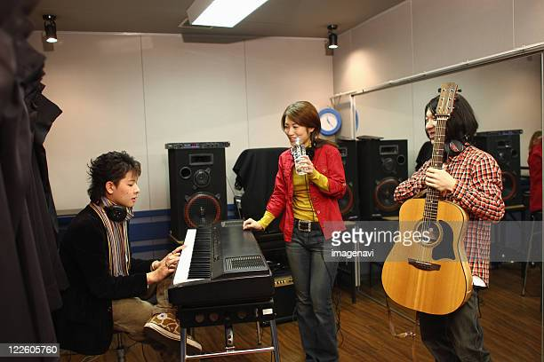 Young people in the recording studio