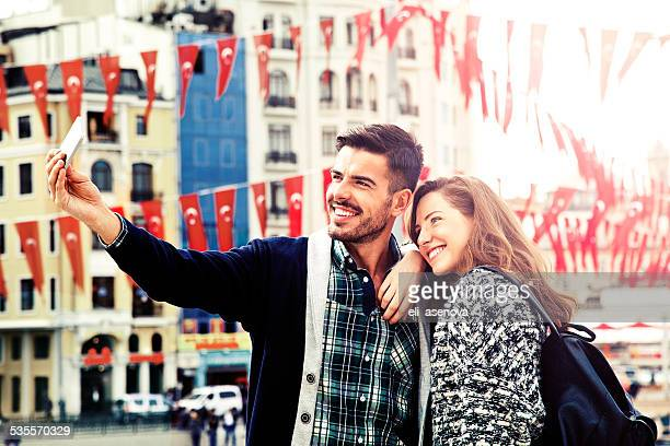 Young people making a selfie in Istanbul
