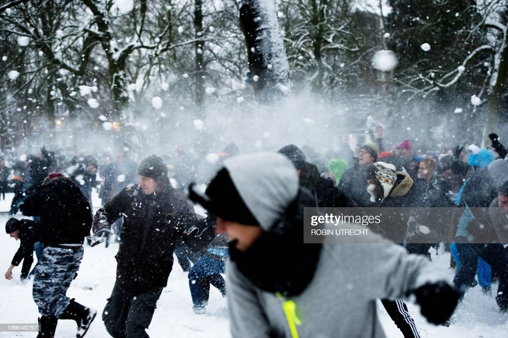 Young people participate in the big snowball fight that is organized through social media at the Valkenberg Park in Breda, The Netherlands, on January 15, 2013. The idea arose spontaneously but grew on Facebook into a big event where more than 1,100 people had registered for it.