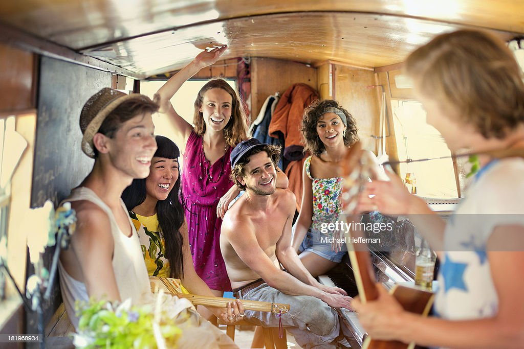 young people party inside canal boat : Stock Photo