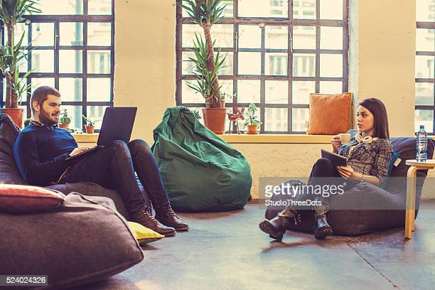 young people relaxing at the office