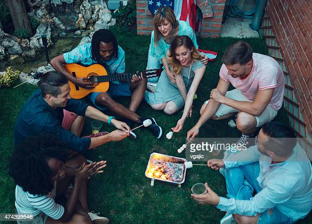 Young People Roasting Marshamllows On Open Fire.
