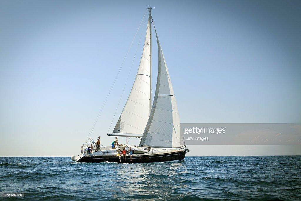 Young people sailing together, Adriatic Sea, Croatia