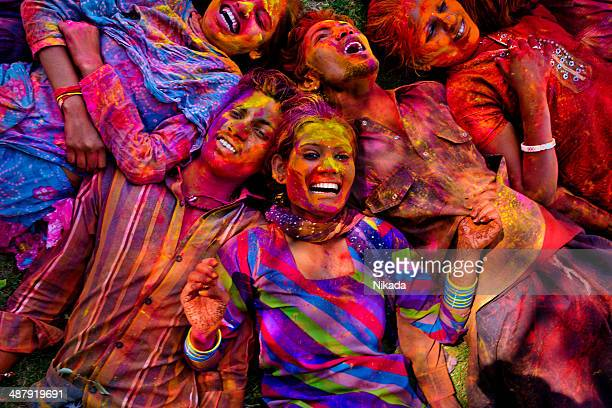 Young people smile in Jaipur during Holi Festival
